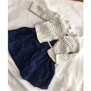 Blue Holiday Dress and Cardigan